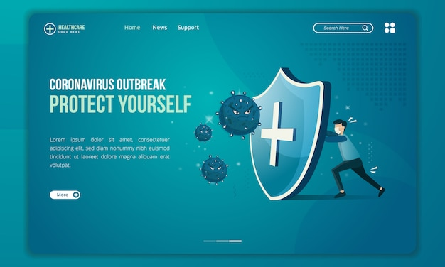 People tries to protect themselves from corona virus threats illustration on landing page Premium Vector