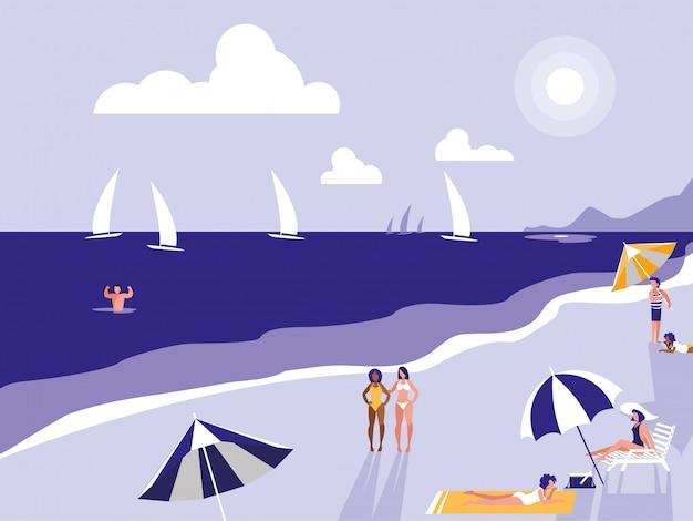 People in tropical beach seascape Premium Vector