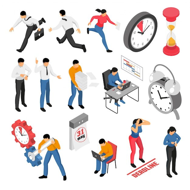 People trying to finish tasks before deadline isometric icons set isolated on white 3d Free Vector