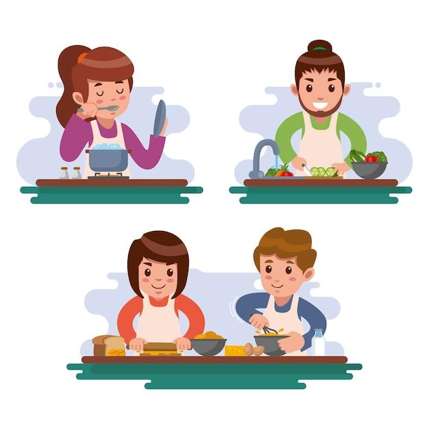 Le persone provano nuove ricette e cucinano Vettore gratuito