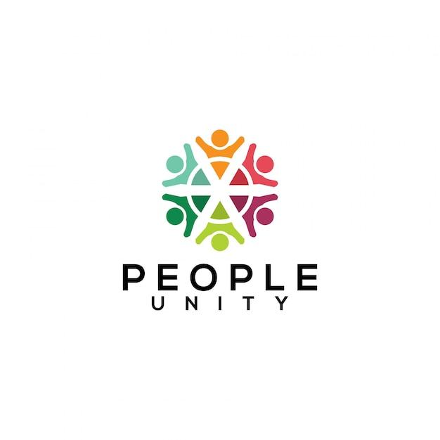 People unity logo vector Premium Vector