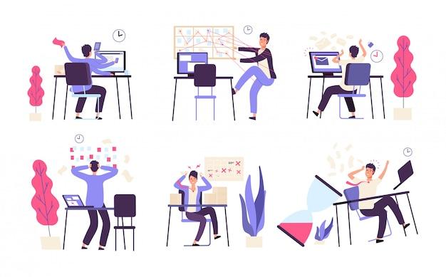 Люди неорганизованные. мужчины терпят неудачу запланированные задачи эффективности производительности время управления вектором концепции Premium векторы