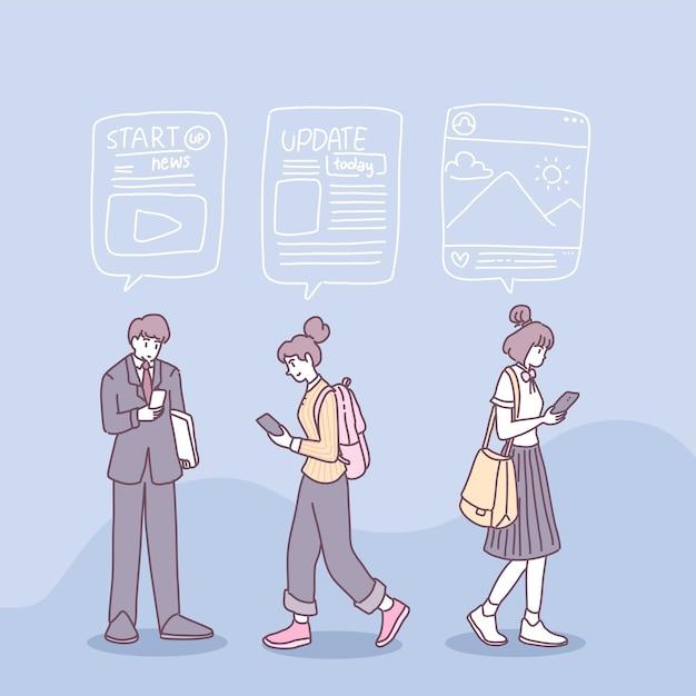Le persone usano gli smartphone per ricevere notizie nella loro vita quotidiana. Vettore gratuito
