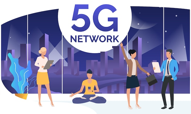 People using 5g network in co-working space Free Vector