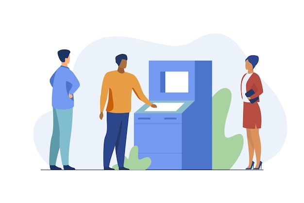 People using atm. bank customers waiting in queue, social distance flat vector illustration. banking, transaction, cash withdrawal Free Vector