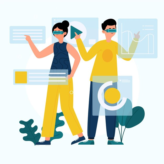 People using augmented reality glasses Free Vector