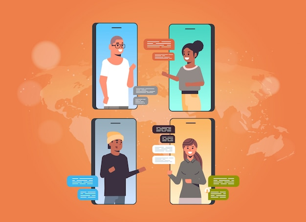 People using chatting app social network chat bubble communication concept Premium Vector