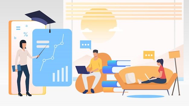People using computers and studying at online school at home Free Vector