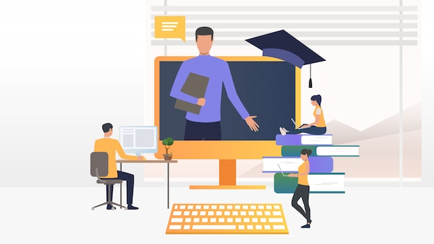 People using computers and studying at online school Free Vector