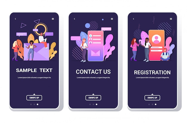 People using digital devices online chatting application registration contact us social network communication concept smartphone screens set full length horizontal Premium Vector