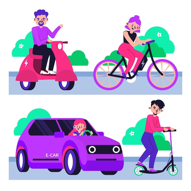 People using electric transport in the park Free Vector
