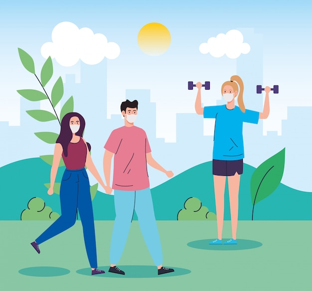 People using face mask practicing activities in landscape Free Vector