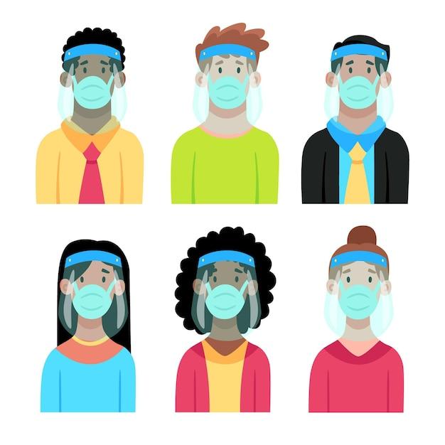 フェイスシールドとマスクを使用している人々 無料ベクター