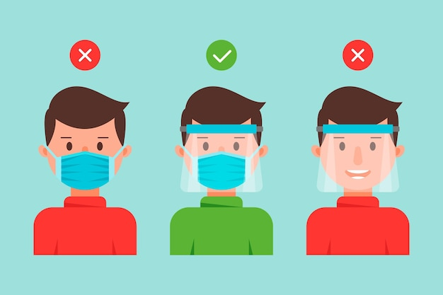 People using face shield and mask collection Free Vector