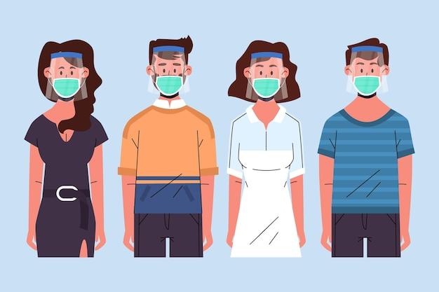 Persone che usano il concetto di maschera e scudo viso Vettore gratuito