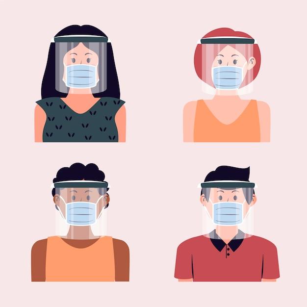 Le persone che usano la maschera facciale Vettore gratuito