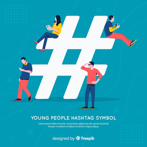 People using  hashtag symbol Free Vector