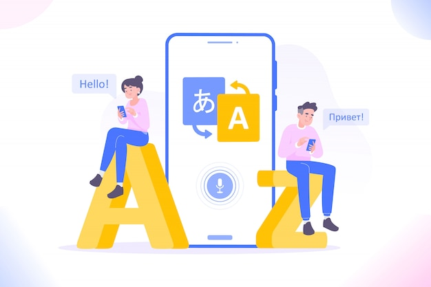 People using language translate app Premium Vector