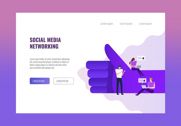 People using laptop and smartphone on big thump up hand. Premium Vector
