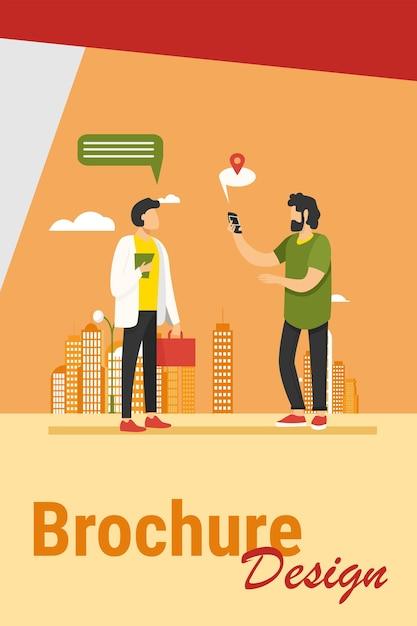 Persone che utilizzano l'app di localizzazione sul telefono. chiedendo modo, fumetto con illustrazione vettoriale piatto del puntatore della mappa. navigazione, viaggi, illustrazione del concetto di comunicazione Vettore gratuito