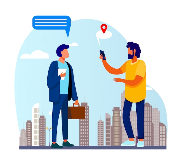 People using location app on phone Free Vector