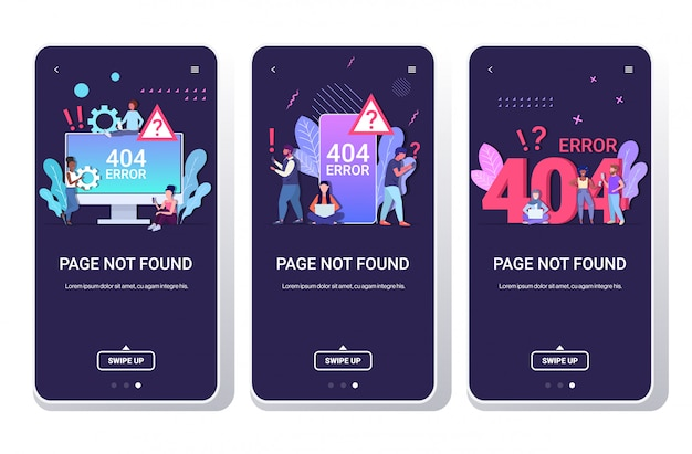 People using online app 404 page not found concept internet connection problem message website under construction smartphone screens set full length horizontal Premium Vector