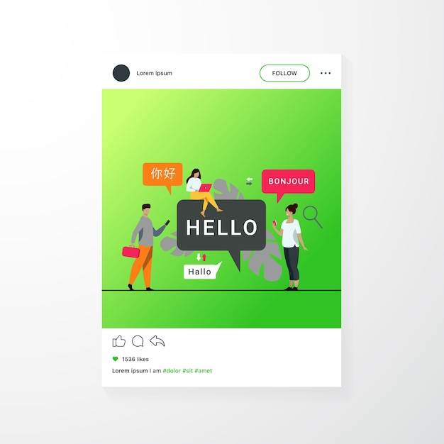 People using online translation app, translating words from foreign languages with mobile service Free Vector
