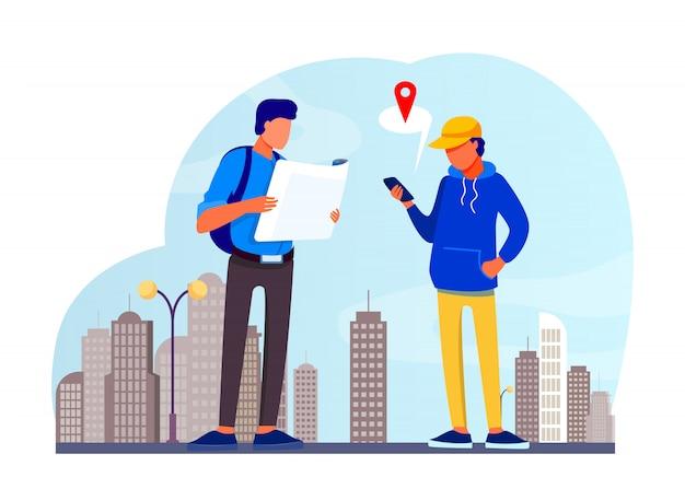 Persone che utilizzano la mappa cartacea e l'app di localizzazione sul telefono cellulare Vettore gratuito