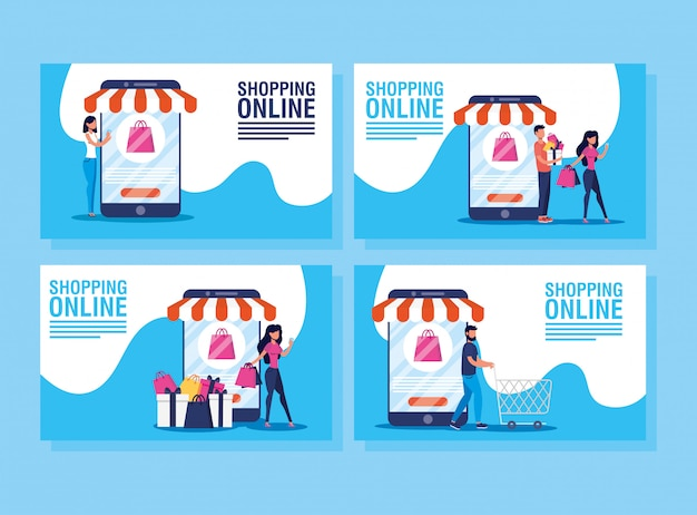 People using shopping online tech Premium Vector