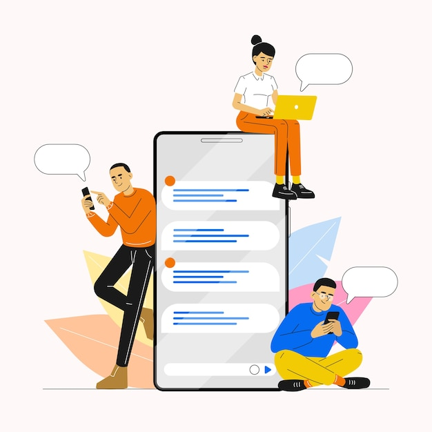 People using smartphone for chatting and communication on social media Premium Vector