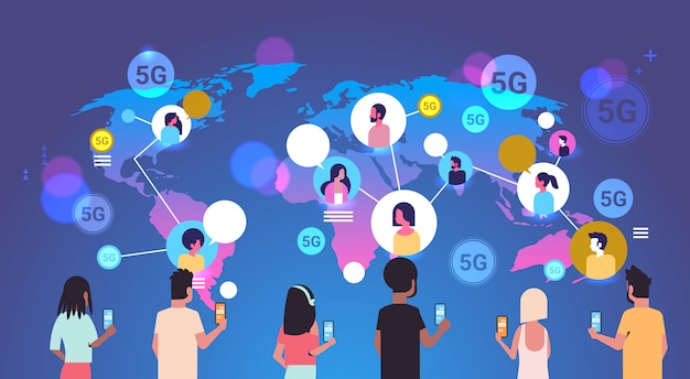 People using smartphones 5g online wireless system connection global communication concept mix race men women chatting world map background portrait horizontal Premium Vector