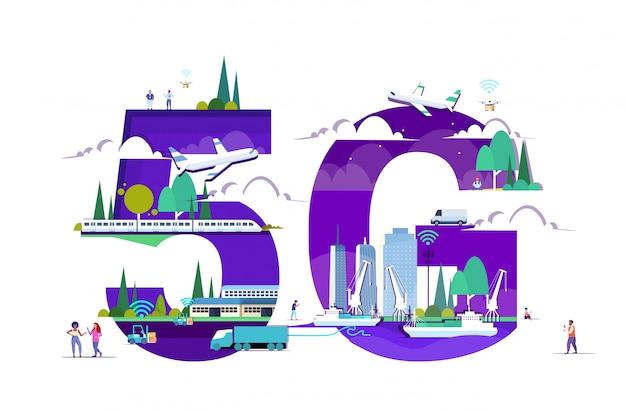 スマートフォン5 gオンラインワイヤレスシステム接続トラック列車貨物船を使用している人々飛行機や街並みの背景の水平全長にドローン Premiumベクター