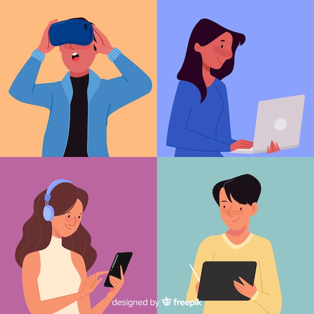 People using technological devices Free Vector