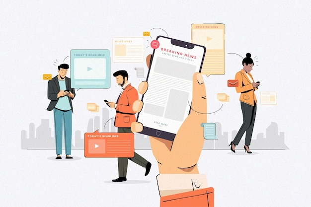 People using their mobile phones for the news Free Vector