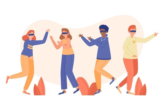 Иллюстрированные люди в очках виртуальной реальности Бесплатные векторы