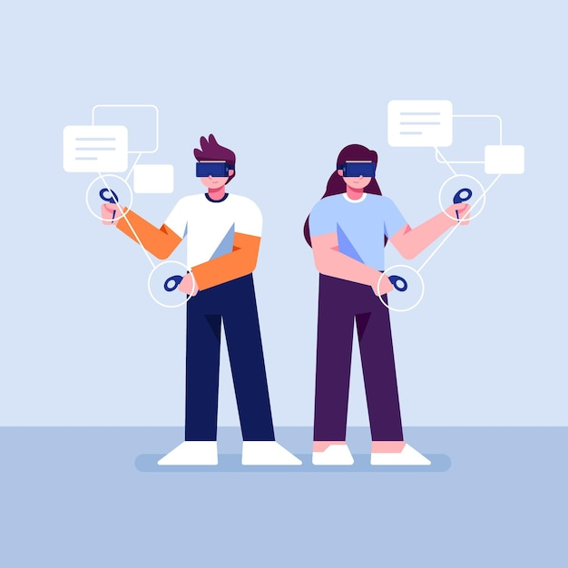 People using virtual reality glasses Free Vector