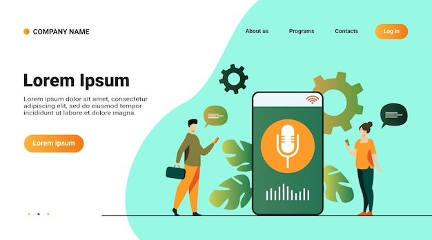 画面にスピーカーを搭載したスマートフォンで音声アシスタントアプリを使用している人 無料ベクター