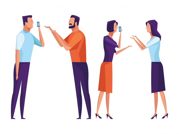People using voice recognition Premium Vector