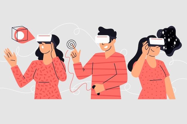 Люди, использующие очки vr иллюстрации Бесплатные векторы