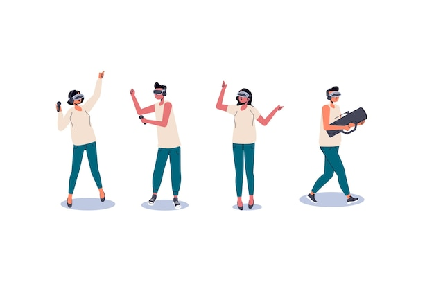 People using vr glasses Free Vector