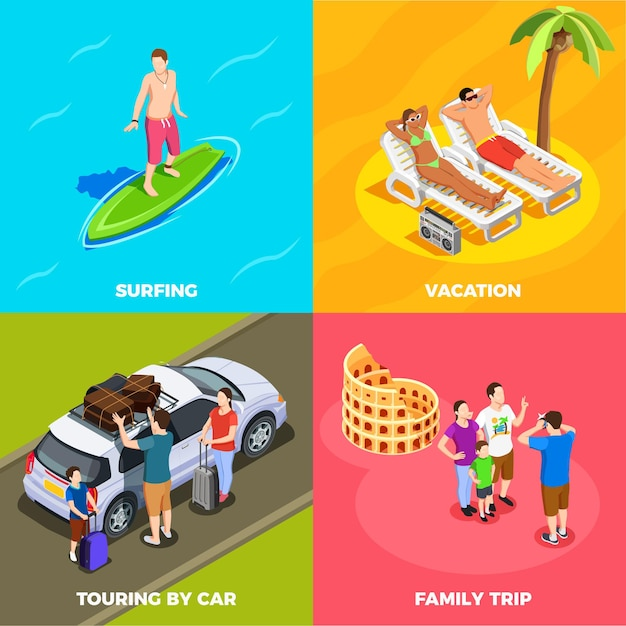 People on vacation isometric  concept beach holiday surfing traveling by car family trip isolated Free Vector