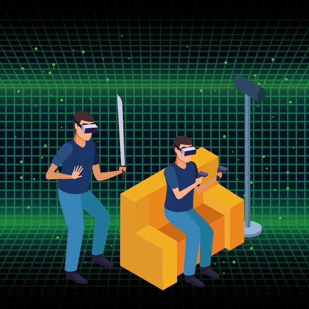 People and virtual reality glasses technology Free Vector