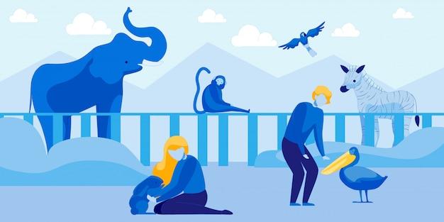 人々は動物や鳥とふれあい動物園を訪問します Premiumベクター