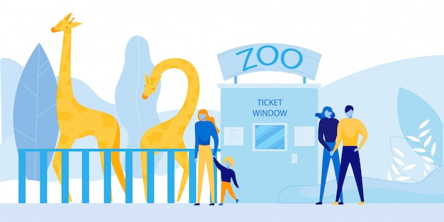 People visiting zoo with wild african animals Premium Vector