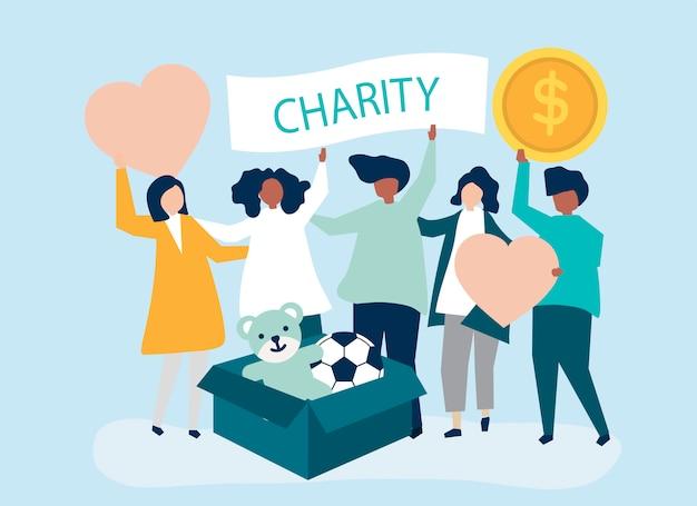 Люди добровольцы и пожертвования денег Бесплатные векторы