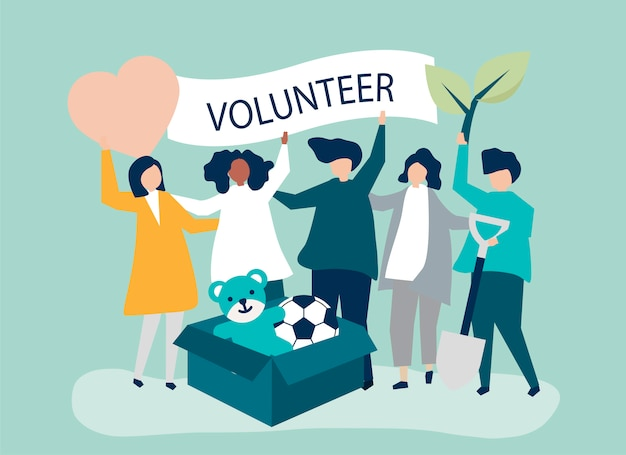 People volunteering and donating money and items Free Vector