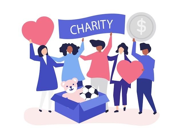 People volunteering and donating money Free Vector
