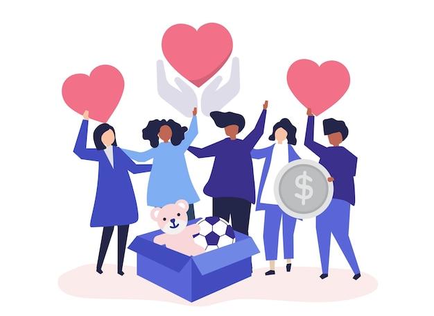 People volunteering and donating money Free Vector