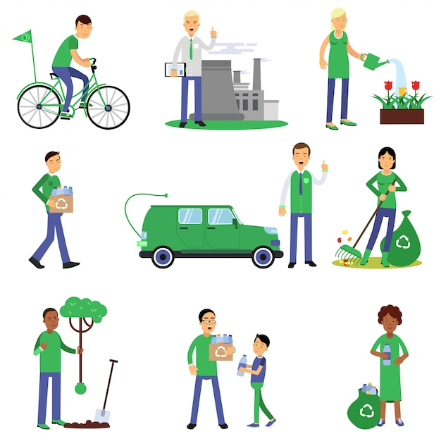 People volunteers cartoon characters contributing into environment preservation, flat style Premium Vector