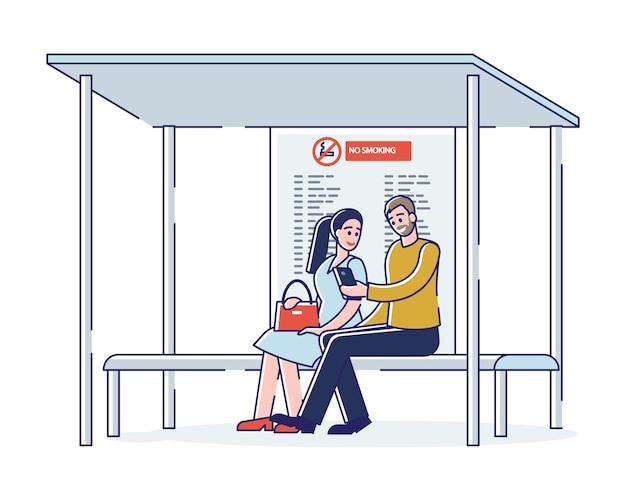 バス停のベンチに座ってバスを待っている人。都市コミュニティ輸送通勤者の概念 Premiumベクター